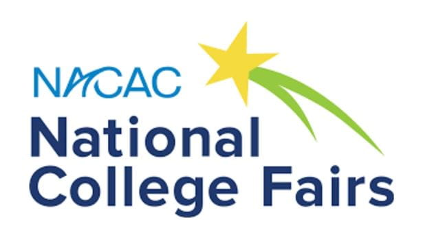 "NACAC National College Fair logo; blue and dark blue text that reads ""NACAC National College Fairs"" on the right with a yellow star with a green trail coming off of it."